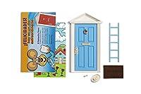 Ratoncito Pérez: Puerta Mágica Azul + Escalera + Plato + Queso + Felpudo + Llave + Dibujo Fondo de Puerta + Postal de Felicitación de Ratoncito Pérez