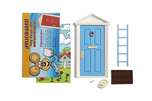 Ratoncito Pérez: Puerta Mágica Azul + Escalera + Plato + Queso + Felpudo + Llave + Dibujo Fondo de Puerta + Postal de Felicitación