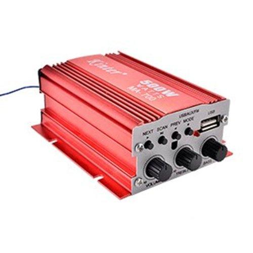 Kinter MA-700 RMS mini Auto USB FM HiFi Stereo Verstärker mit Fernbedienung (2 Kanäle, 500 Watt, 2 x 30 Watt)