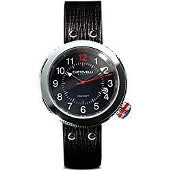 Chotovelli Gauge Men's Italian Watch Automotive Alfa dial Black leather Strap 80.01
