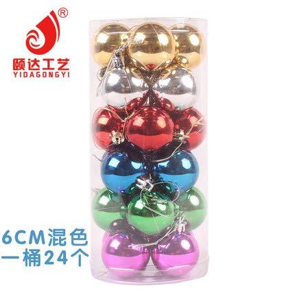 HAPPYLR Weihnachtskugeln Weihnachtsschmuck Weihnachtskugeln helle Kugelkugel Weihnachtskugel Anhänger 24 Fässer Paketkugel, 6cm Mischfarbe 24 Pack - 24k Fass