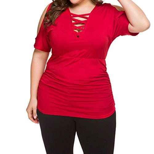 Yvelands Damen T-Shirt Fashion Sexy V-Ausschnitt Plus Size Schulterfrei Kurzarm Top(rot,XXXXL)