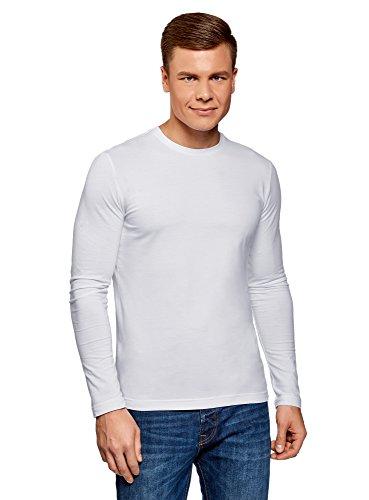 Oodji ultra uomo maglia in cotone con maniche lunghe senza etichetta, bianco, it 44-46 / eu 46-48 / s