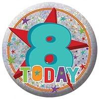 Amscan International 9900828 Happy 8th Birthday Badge, Small
