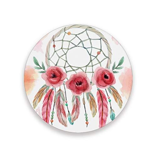 FAJRO - Posavasos con diseño de flores y atrapasueños, tamaño grande, 9,9 cm, para todas las tazas, madera, 1, 4 pieces set