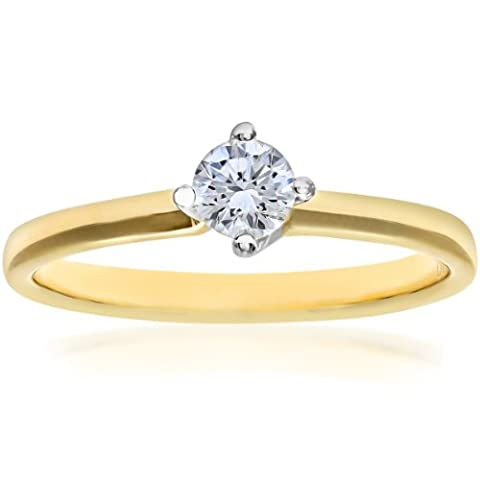 Naava Women's 18 ct Yellow Gold Twist Head Solitaire Engagement Ring, G/SI3 EGL Certified Diamond, Round Brilliant, 0.28