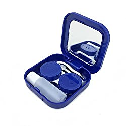 blue : Adecco LLC Portable Contact Lens Case Travel Kit Mirror +bottle + tweezers Container Holder (blue)