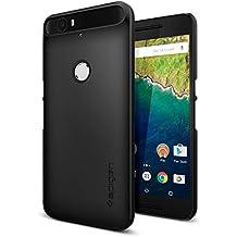 Funda Nexus 6P, Spigen® [Thin Fit] Exact-Fit [Negro] Cubierto con una superficie mate antideslizante, Funda dura para Nexus 6P – Negro (SGP11814)