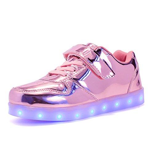 VOOVIX Kinder Schuhe mit Licht Led Leuchtende Blinkende Low-top Sneaker USB Aufladen Shoes für Mädchen und Jungen(Rosa01,EU34)