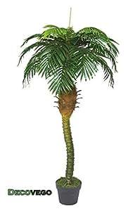 Palmizio Palma Cocco Pianta Albero Artificiale Plastica con Vaso 180cm Decovego