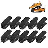 10 Pezzi Creativo Durevole Regolabile scarpiera salvaspazio plastica Shoe Organizer, Scarpe salvaspazio Holder Shoe Rack-Black