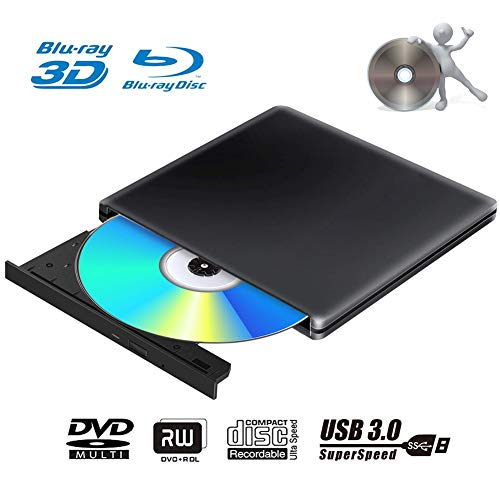 Externes 3D Blu Ray DVD Laufwerk Brenner USB 3.0 Tragbare Ultra Slim BD/CD/DVD RW Player Disc für Windows 10/7/8.1 / Vista/XP/Mac OS Linux, PC