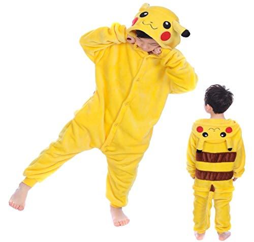 Kinder Jungen Mädchen Herren Damen Pikachu Pokemon Onesie Loungewear Kostüm Kostüm Outfit Cosplay Rollenspiel unisex bequem (Alter 6-8) (Pikachu Kostüm Pokemon)