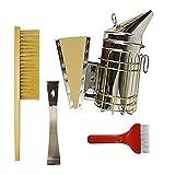 Globalflashdeal Satz Von 4 Bienenzucht Werkzeug Satz, Edelstahl Bienen Stock Werkzeug, Bienen Bürste, Raucher, Kammwachs Extraktions Gabel