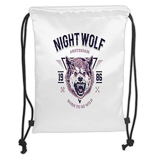 Fashion Printed Drawstring Backpacks Bags,Wolf,Born to be Wild Angry Animal Vintage Grunge Illustration Roaring Savage Retro Decorative,Dried Rose Eggplant Soft Satin,5 Liter Capacity,Adjustable S