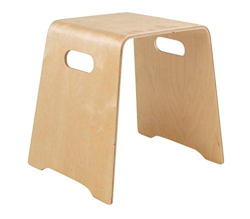 Home4You Holzhocker Stapelhocker Sitz-Hocker MATHEO 3   Birke Schichtholz natur lackiert   Sitzhöhe 45,5 cm