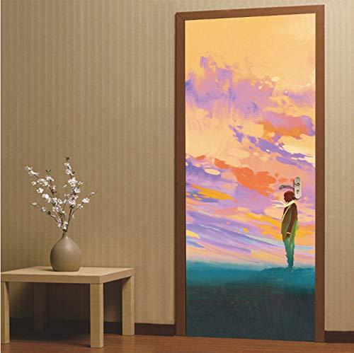 Dalongshan adesivi per porte,aspettando amante ragazzo e distanza adesivi universali 3d carta da parati decalcomania murale impermeabile fai da te per soggiorno camera da letto