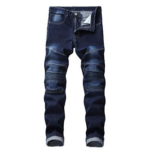 Xmiral Jeans Uomo Slim Fit Denim strappato strappato Distrutto Pantaloni in Denim con Cerniera a Foro Ricamato Nuova personalità della Moda (36,3- Blu Scuro)