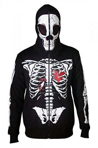 Men Full Face Mask Skeleton Skull Hoodie Sweatshirt Halloween Costume Hoodie
