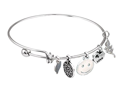 Sansar India Oxidized Silver Finish Lucky Charms Wire Bangles Bracelet For Women