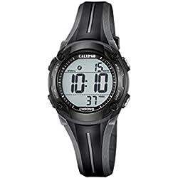 Calypso Unisex Armbanduhr Digitaluhr mit LCD Zifferblatt Digital Display und schwarz Kunststoff Gurt k5682/6