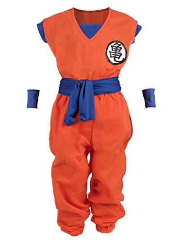 CoolChange Drachen Ball Kinder Kostüm, Son Goku Trainings Anzug beim Herr der Schildkröten, Größe: 140 (Saiyajin-kostüm)