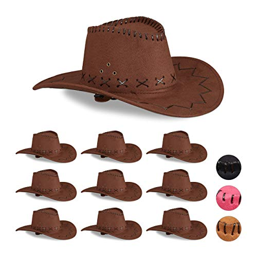 Relaxdays 10 x Cowboyhut Fasching, Westernhut, Erwachsene, im Westernstyle, Karneval, mit Kopfband, Faschingshut, dunkelbraun