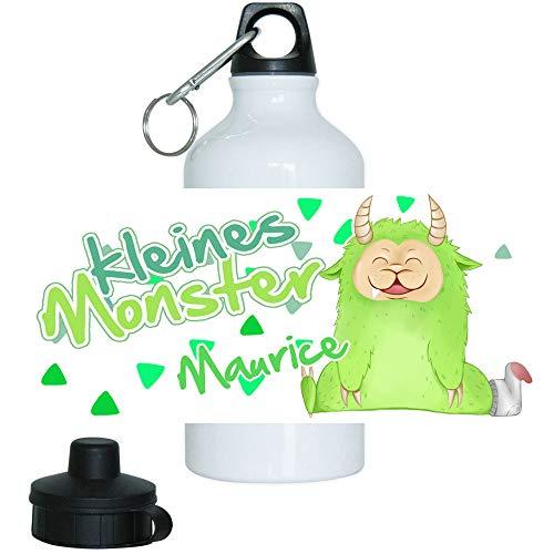 Eurofoto Trinkflasche Set mit Namen Maurice und Motiv - Kleines Monster - für Jungen | Motiv-Trinkflasche | Kinder-Aluflasche