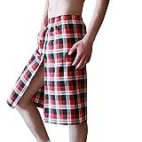 Heflashor Saunakilt Herren 100% Baumwolle mit Kariert Muster Atmungsaktiv Saunarock Saunahandtuch mit aufgesetzter Tasche