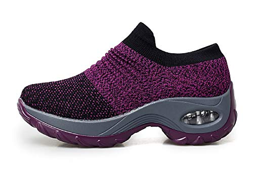 tqgold Sneakers Zeppa Interna Donna Scarpe da Ginnastica Sportive Fitness  Basse Scarpe 4.5CM(Viola cd3e3154f90