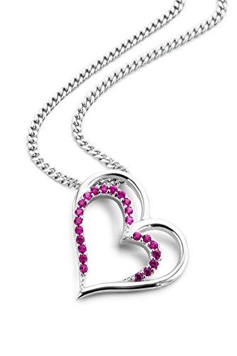Orovi Kette Damen Halskette Liebe Herz Anhänger mit Ruby Schmuck 925 Sterling Silber Rhodium plated Kette 46cm (Hypoallergen Ohrringe Ruby)