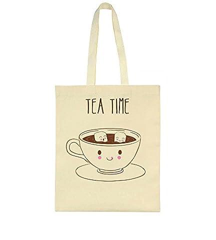 Tea Time Cute Cup Of Tea With Tiny Sugar Cubes Toile Sac Fourre-tout Tote Bag