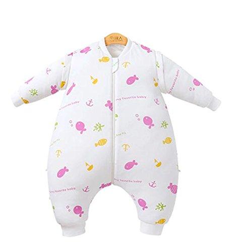 Chilsuessy Winter Schlafsack mit Beinen 2.5 Tog Kinderschlafsack 100% Baumwolle Jungen Babyschlafsack Wattiert Mädchen Schlafstrampler, Pink, M/Koerpergroesse 80-90cm