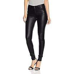 Vila Clothes Vicommit RW New Coated-Noos, Pantalones para Mujer, Negro (Black), 40 (Talla del Fabricante: Large)