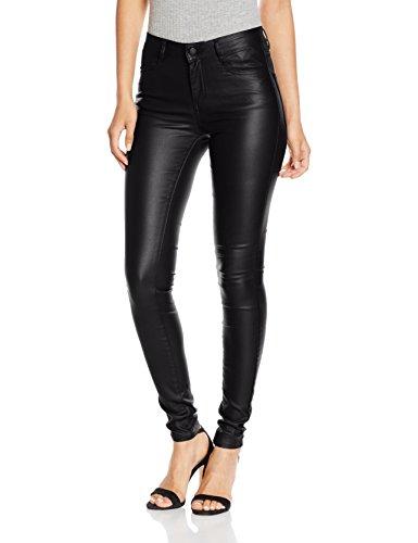 VILA CLOTHES Damen Hose Vicommit RW New Coated-Noos, Schwarz (Black), 38 (Herstellergröße: M)