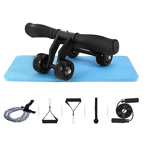 TOMSHOO 5-en-1 AB Roller Kit de Ejercicio con 4 Ruedas+Bandas Elasticas+Cuerda de Salto+Rodilla Mat para Abdominales Ejercicio,Pilates,Ejercicios en Casa