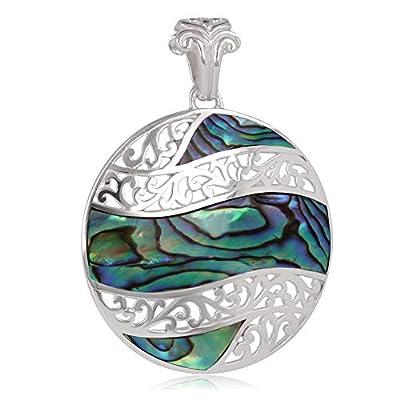 Pendentif - Nacre abalone- Argent 925-millième rhodié-rond-Femme