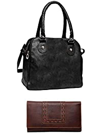 Borse Women Brown Genuine Leather Wallet & Stylish And Capacious PU Tote Combo - Gift For Mothers Day