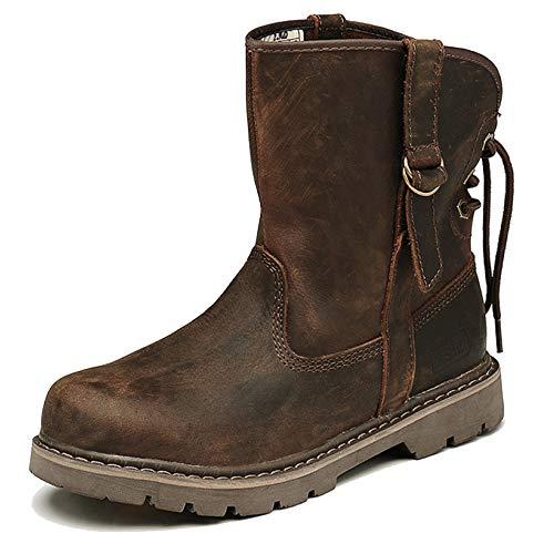 MERRYHE Runde Kappe Echtes Leder Mitte Kalb Martin Stiefel Für Männer Frauen Trekking Wandern Combat Desert Boots Ankle Boots,Brown-43