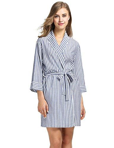 EKOUAER Damen Sexy Lingerie Nachtw Cami Pyjama Set Pj Shorts Nachtw Klein Blau - Streifen-pyjama-set