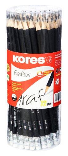 Kores Bleistift Grafitos, HB, 3-kant mit Radierer, 72 Stück, schwarz