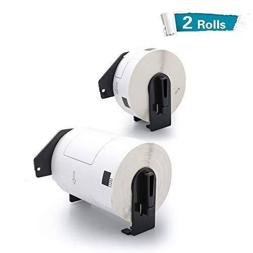 Airmall Etiketten, 2 Stück, kompatibel mit DK-1241 DK-1201, Weiß, gestanzt, einzelne Etiketten, große Versand, weiße Papieretiketten