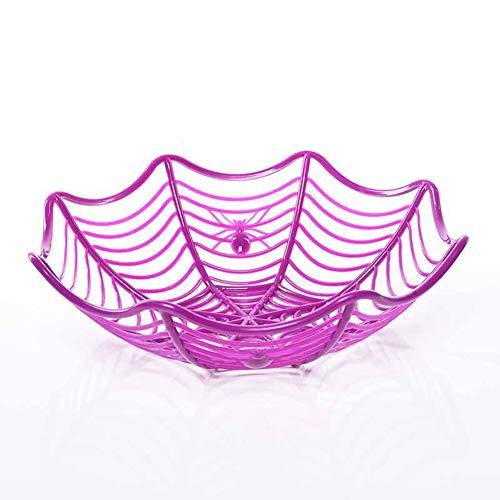 ZXH77f Kunststoff Spinnennetz Früchte Candy Basket Spinnennetz Schüssel Halloween Party Decor (Color : Purple)