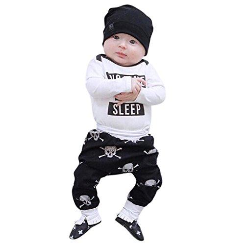 Neugeborenen Baby Jungen Mädchen Brief Strampler + Schädel Knochen Drucken Hosen 2 stücke Kleidung (Weiß, 80) (Schädel-baby-kleidung)