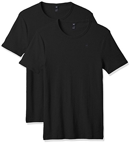 g star t shirts G-STAR RAW Herren T-Shirt Base R T S/S 2-Pack, Schwarz (Black 990), Medium