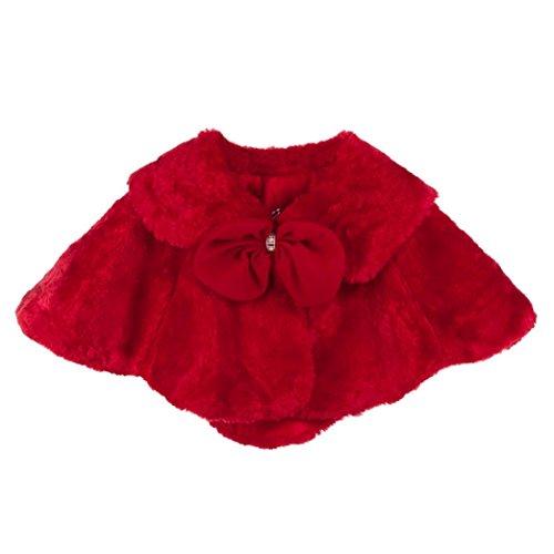 (HLHN Mädchen Bolero Pelerine für Brautjungfer Abendkleid Hochzeitskleid (Rot, 152))