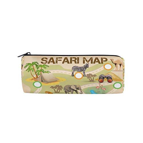 Bonipe Safari Poster Tierspiel Federmäppchen Tasche Tasche Schule, Schreibwaren Stifte Box Reißverschluss Kosmetik Make-up Tasche