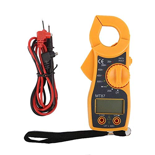 Arteki Continuity Digital Clamp Meter AC/DC Voltage LCD Diaplay Auto Range Current Multimeter,Continuity Test,Tests Diodes,LED Backlight (Yellow)