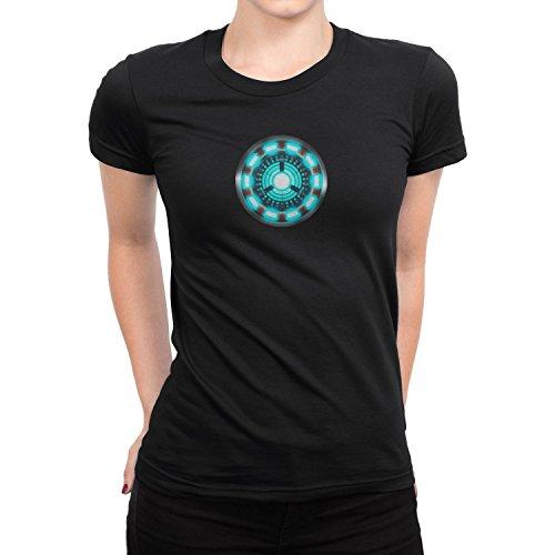 Comic Figur Kostüm Einfach Buch - Arc Reactor - Damen T-Shirt, Größe: M, Farbe: schwarz