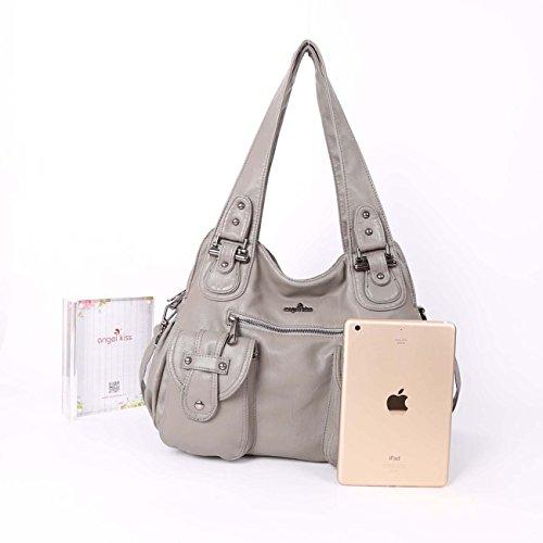 Angelkiss 2 zip più alte tasche borse donna   tasche in lana lavata   borse  a ... 10ecc8f83c6